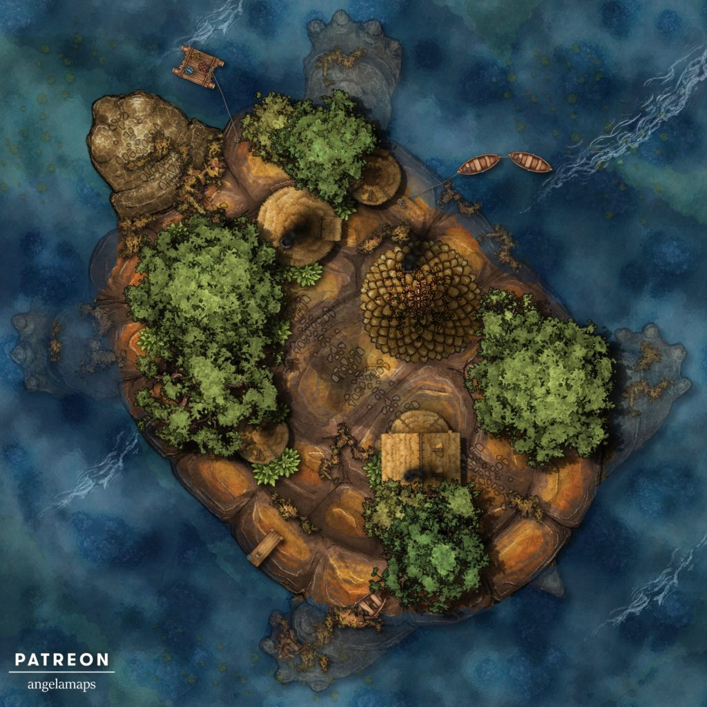 Turtle island battlemap for D&D