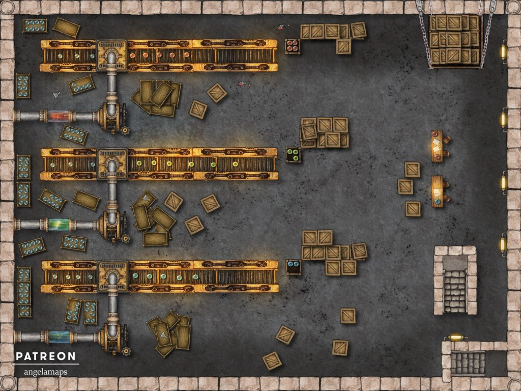 Factory line battle map encounter for D&D and pathfinder with fantasy grounds support
