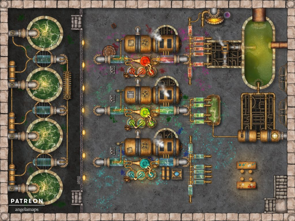 Chemical factory battle map encounter for TTRPGs like D&D and pathfinder with fantasy grounds support