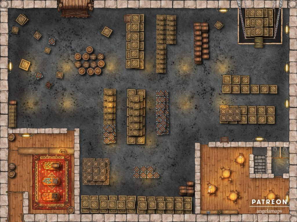 Factory warehouse battle map for D&D encounters with built in fantasy grounds support