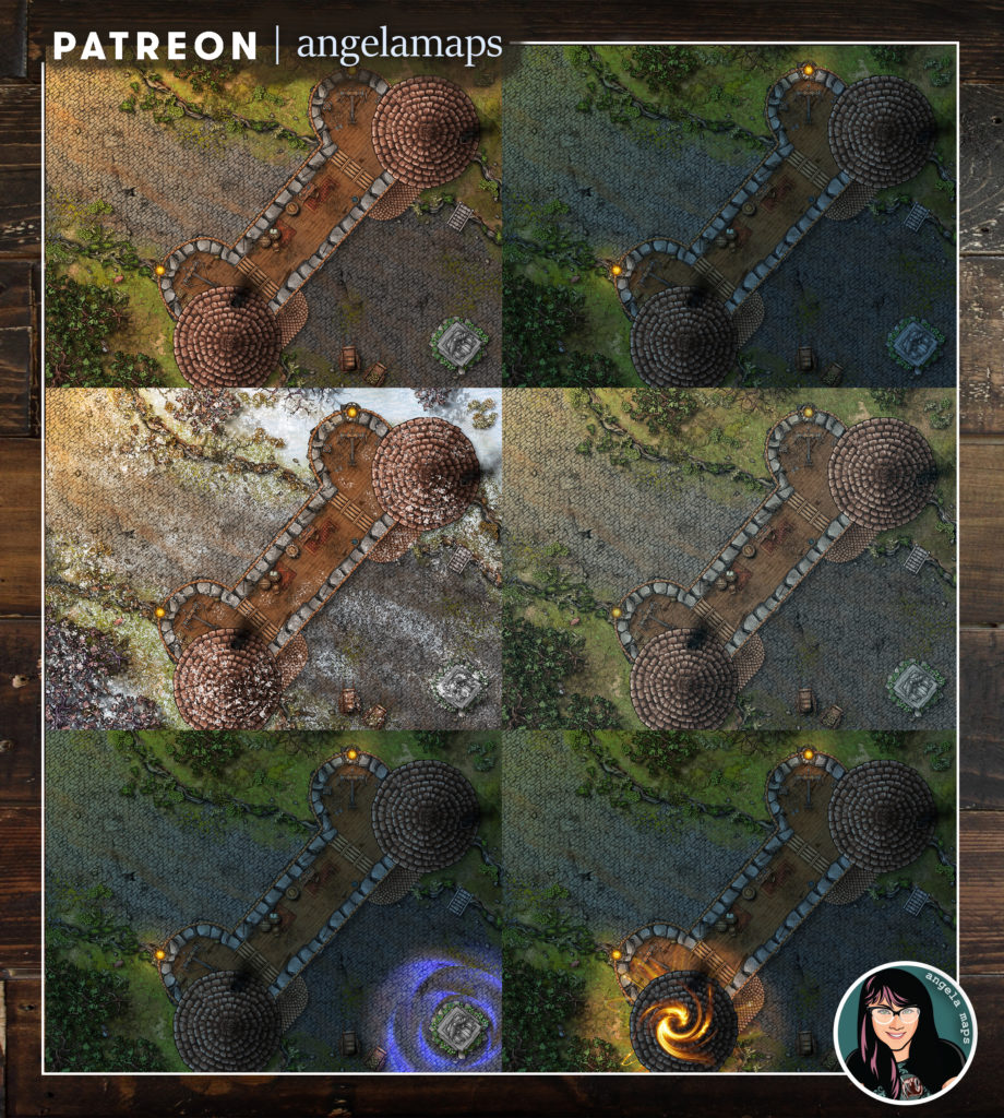 Battlemap with six variations to fit all your stories.  Guard post, winter, raining, night, magic tower and ominous statue.  Great for your D&D adventures or other TTRPGs.  With Fantasy Grounds support.