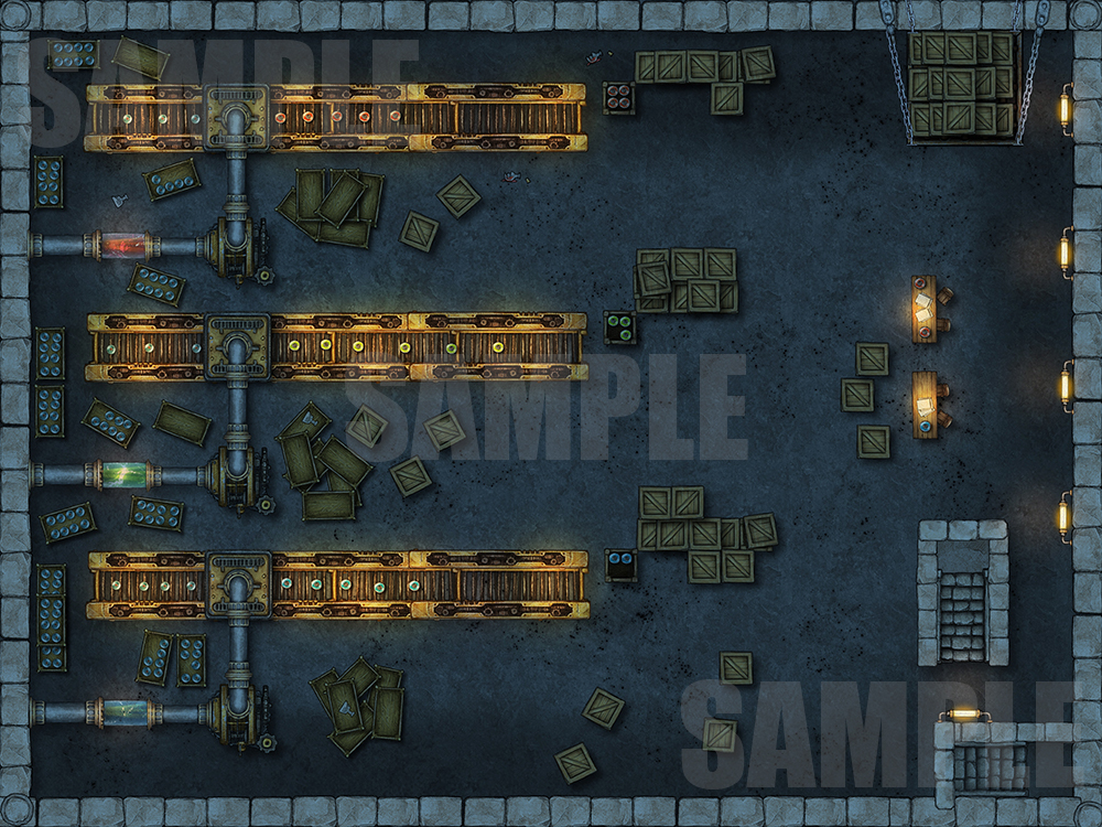 Potion making factory battle encounter map for TTRPGs with fantasy grounds support