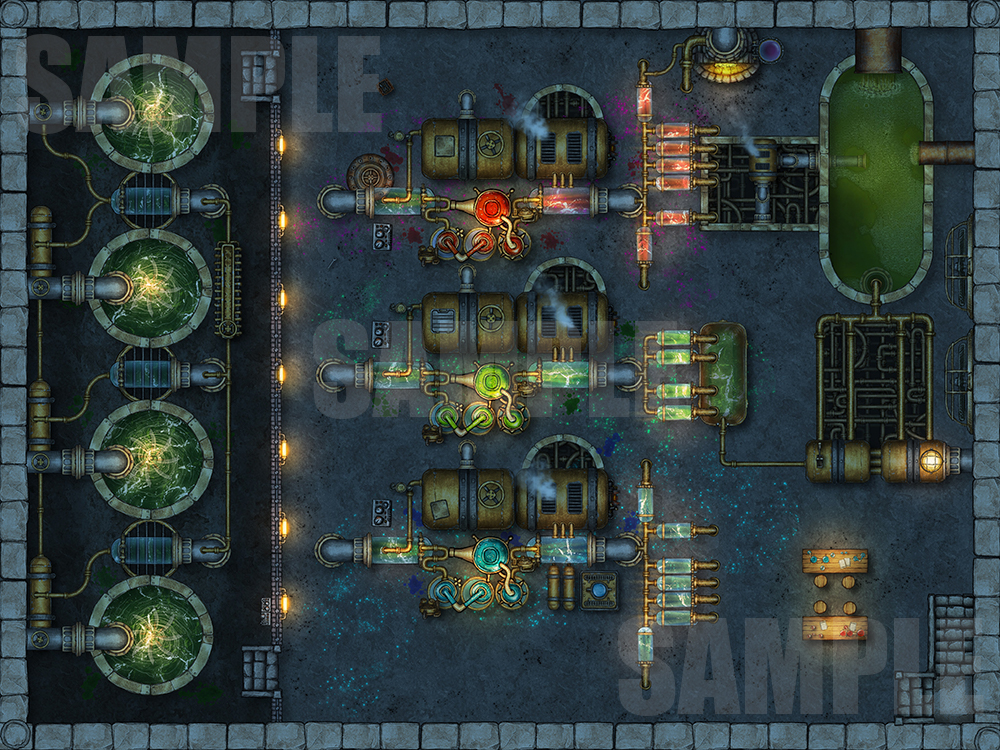 Potion making factory TTRPG battle map for D&D or pathfinder with fantasy grounds support.