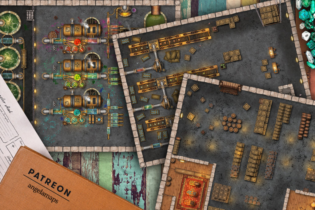Potion factory battle map encounter for TTRPGs such as D&D or Pathfinder.  With full Fantasy Grounds support.