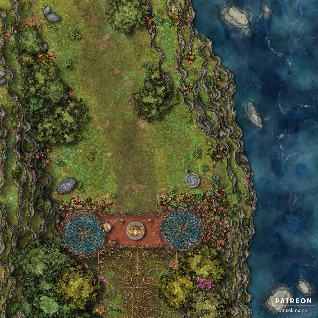 Rose thorn pass secret elven passage through a guard post, battle map for D&D with Fantasy Grounds