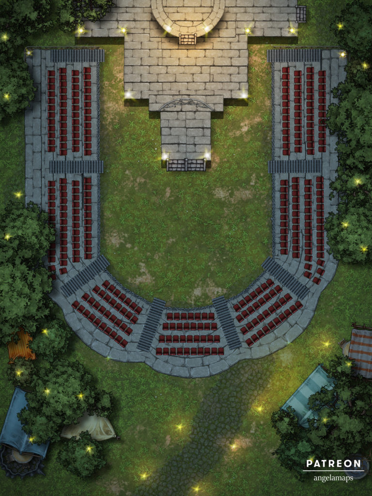 Theater battle map for TTRPGs with fantasy grounds support