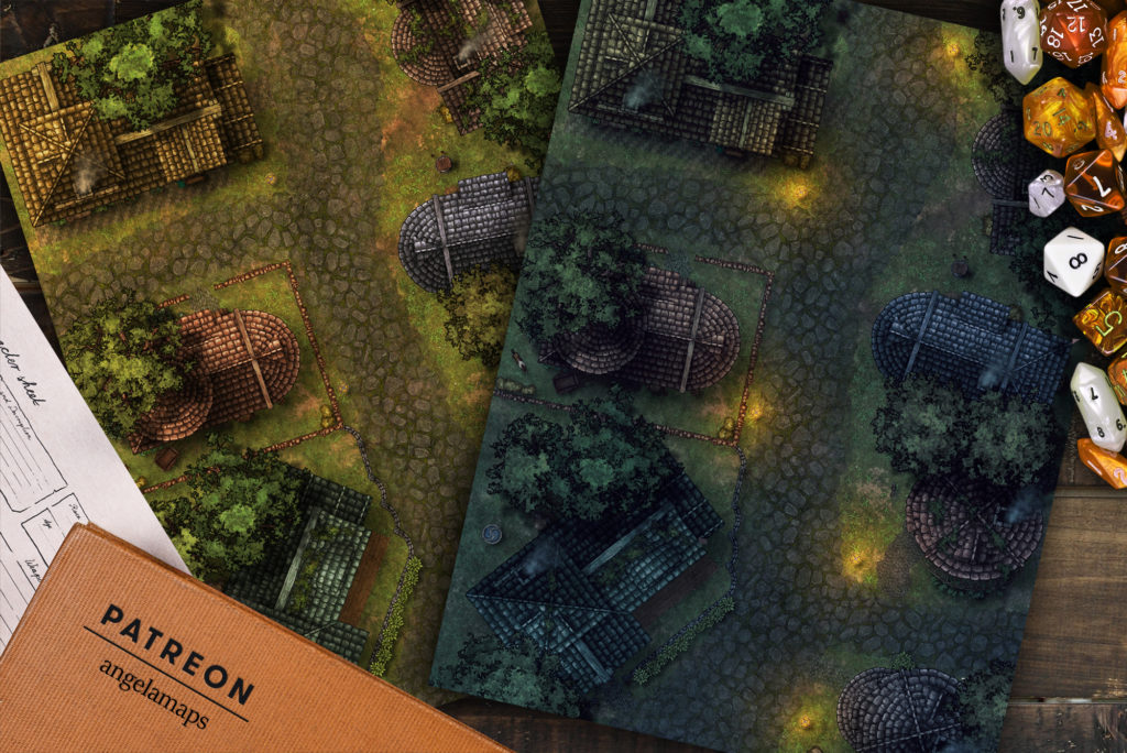 Village street battlemap day and night versions for D&D or Pathfinder with fantasy grounds support