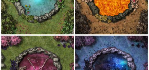 Four battle maps: a mysterious well, a lava well, the resting spot of a dead dragon, and a cosmic galaxy well. For D&D or Pathfinder.