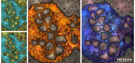 Space, lava, water animated battle maps for D&D