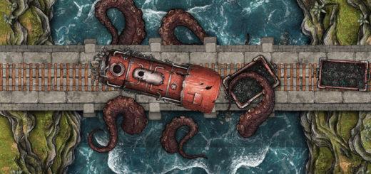 Kraken attack free battlemap for D&D