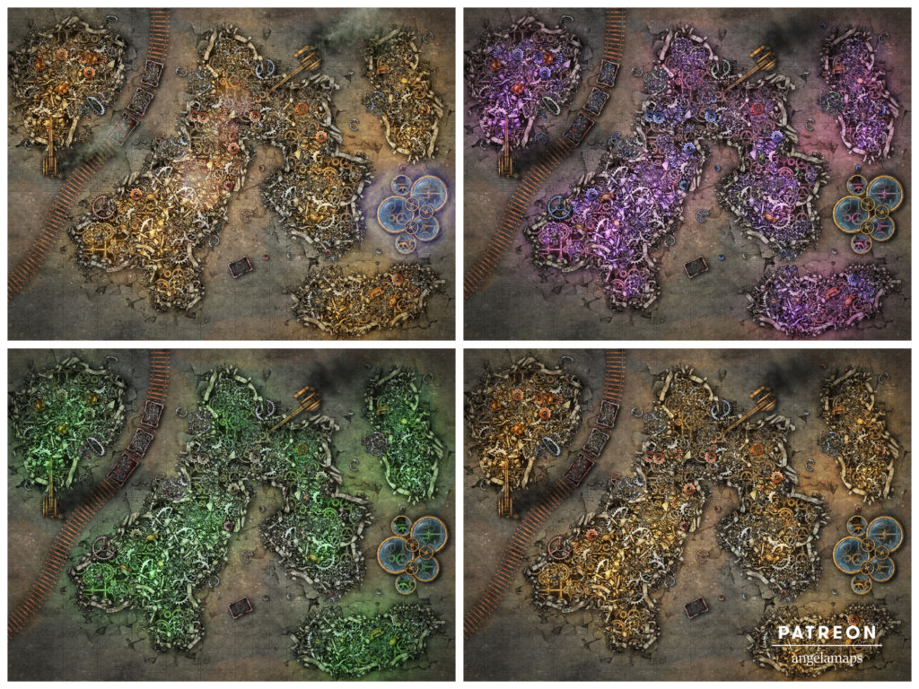 Scrap yard or modron grave site with four versions, D&D battle encounter map.