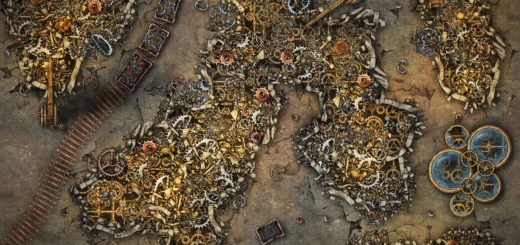 Scrap Yard, or modron burial ground, or metal planet battle map for D&D