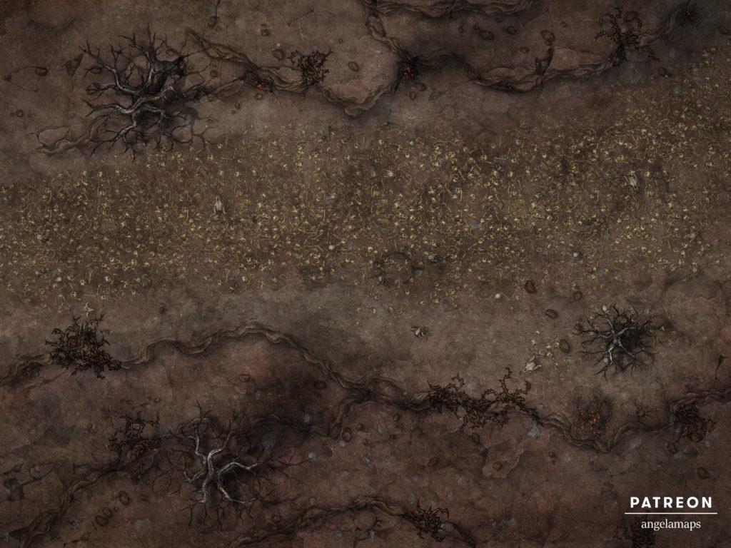The road to Dis, second layer of the nine hells, paved in skulls, a battle map for D&D