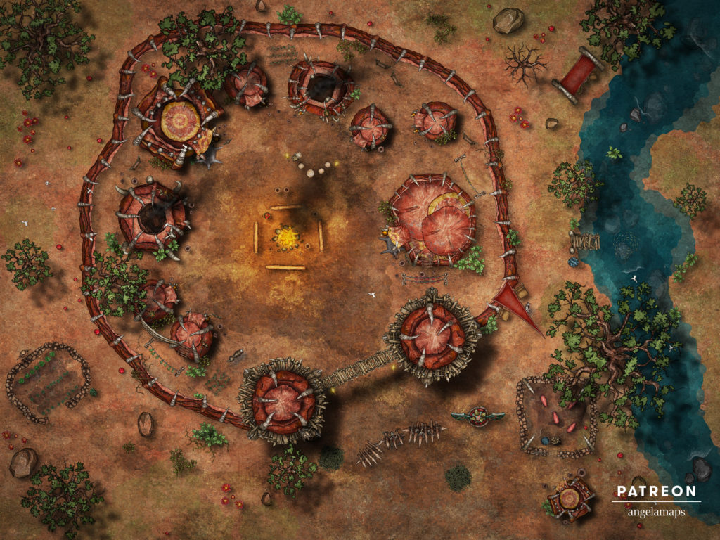 Orc camp battlemaps, animated for Foundry VTT