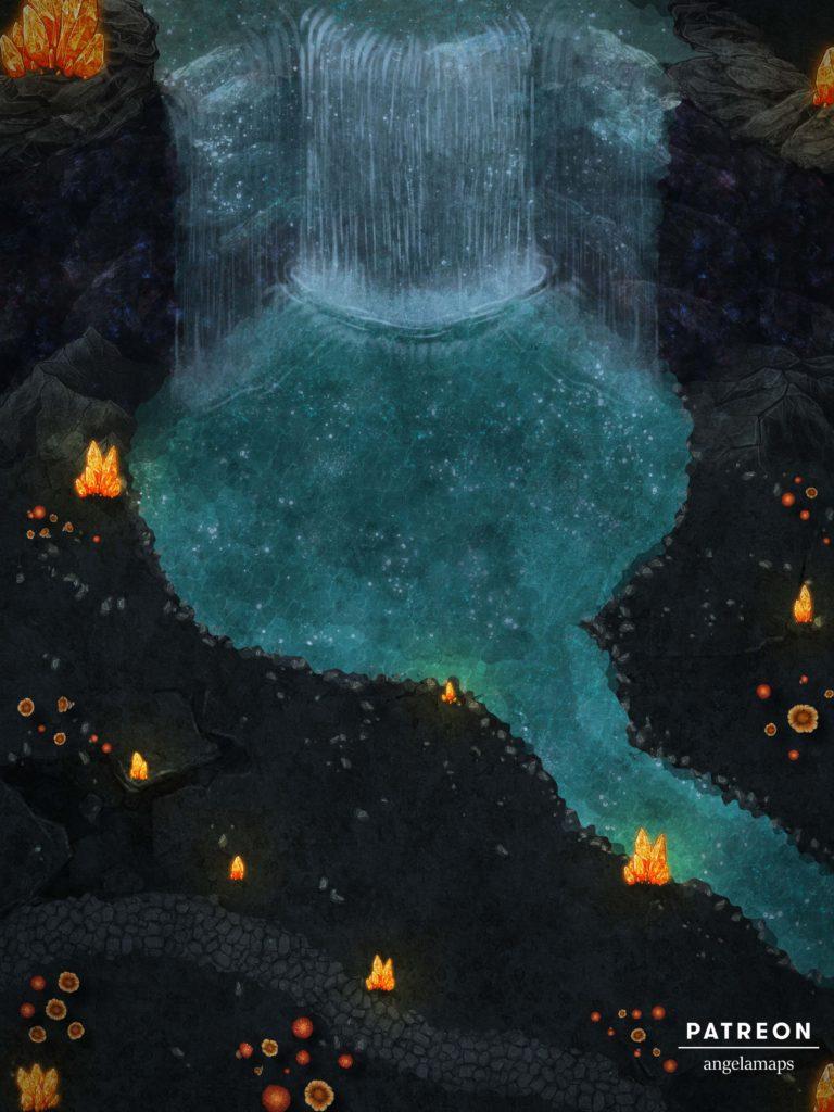 Beautiful underdark waterfall battle map for D&D or pathfinder