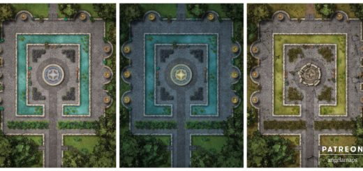 Gardens - day, night and ruined battle maps for D&D and Pathfinder
