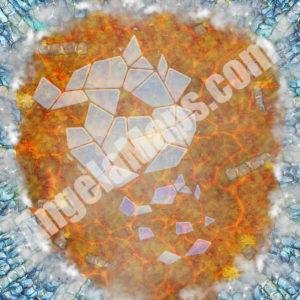 Broken ice on magma D&D battle map