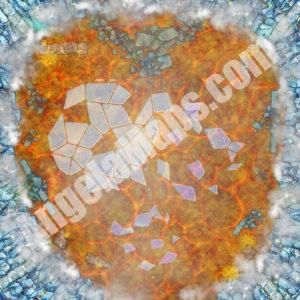 D&D shattered ice over lava battle map