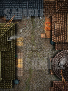 Back alley D&D battle map with animation