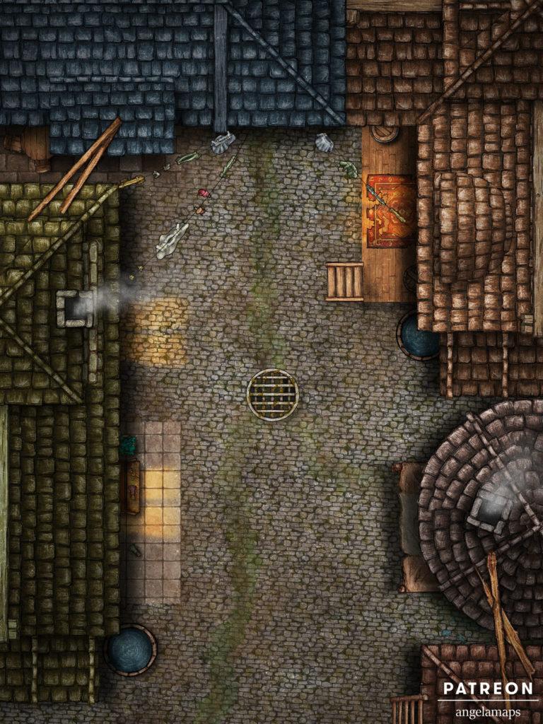 Alley battle map for D&D encounter