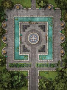 Beautiful animated gardens D&D battle map pack