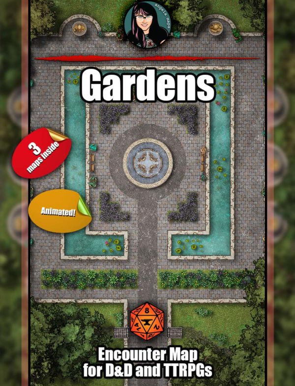 Fancy gardens D&D battle map with animation for Foundry VTT