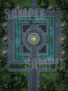 Beautiful animated evening gardens D&D battle map pack