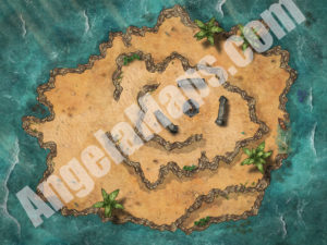 Island D&D battlemap with stonehenge like structure and ritual
