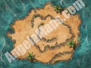 D&D island battle map with Foundry VTT