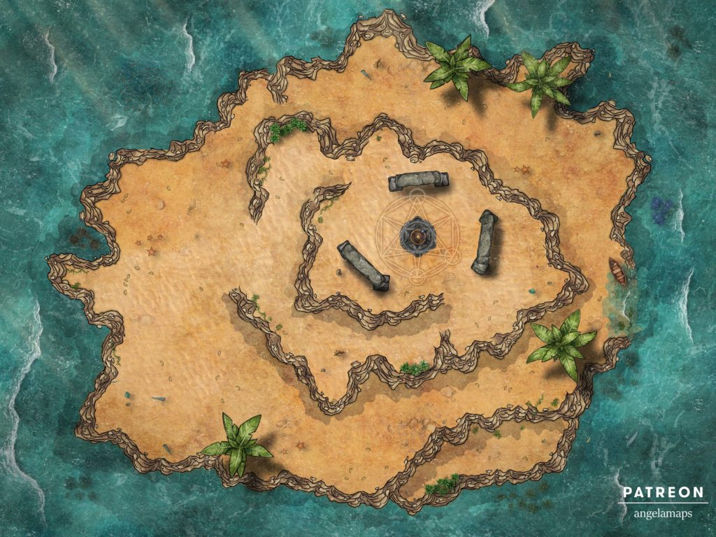 D&D island map with ritual being cast