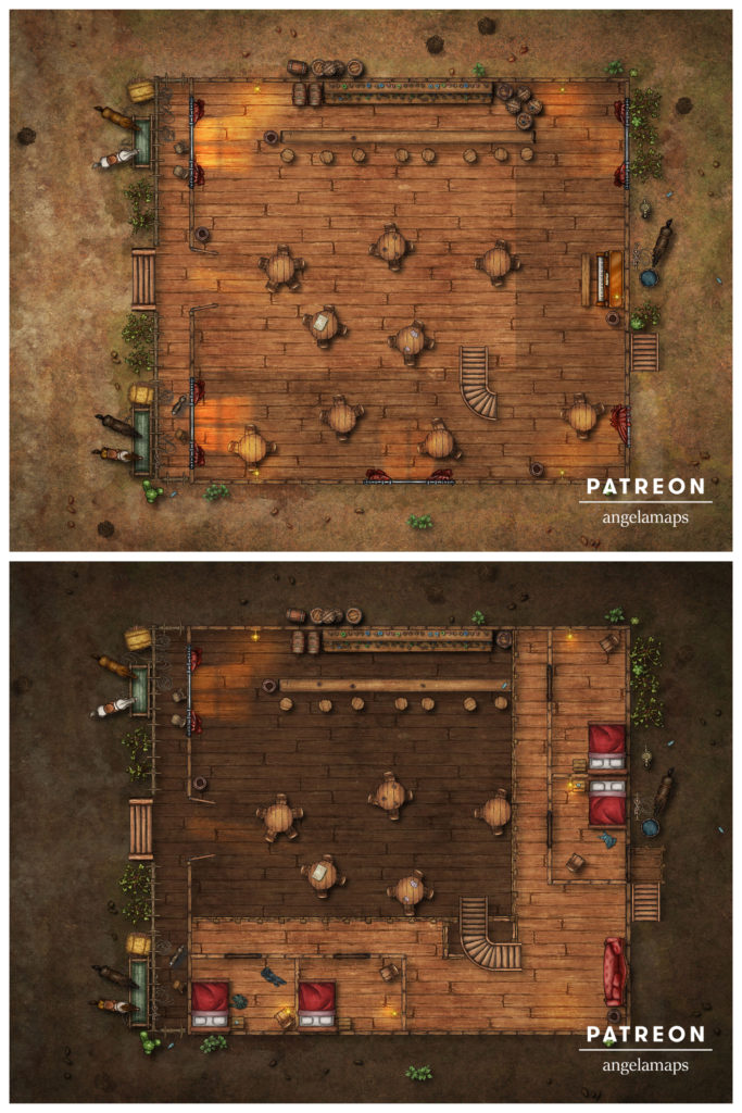 Western style saloon map two stories D&D battle map