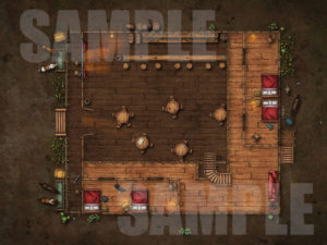 Western style saloon battlemap D&D encounter upstairs