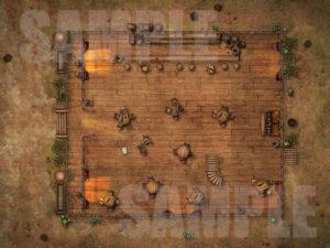 Abandoned/Destroyed western style saloon battlemap