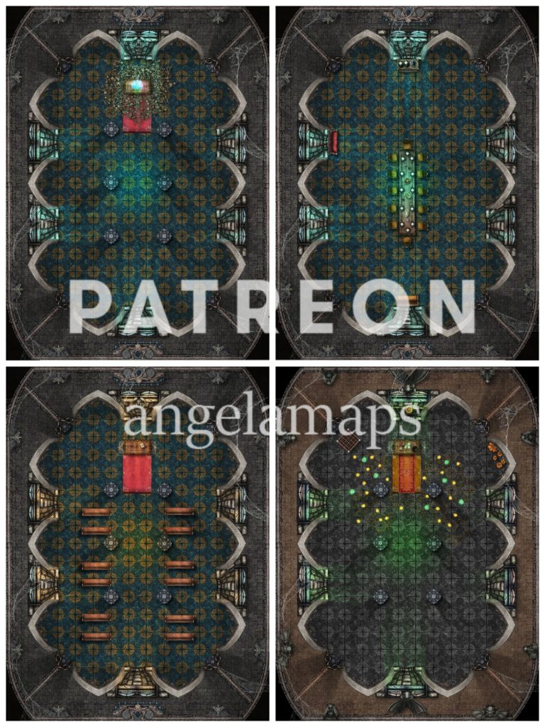 Four versions of a gothic chamber battle map