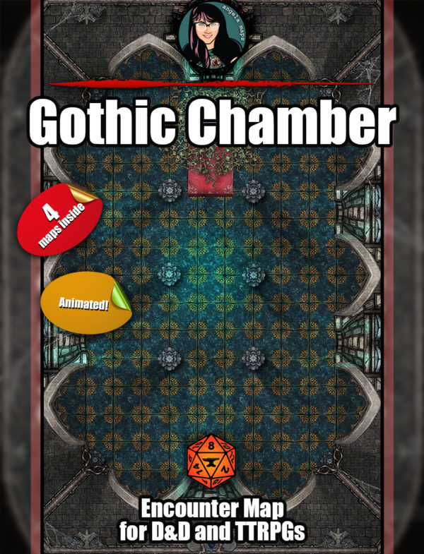 Gothic chamber for map battle map pack for D&D or pathfinder from Angela Maps