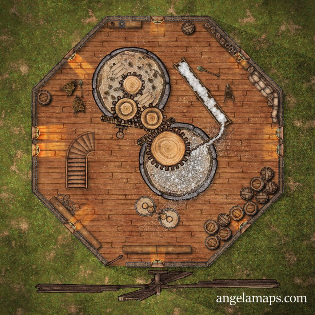 Mill battle map - three floors - D&D encounter map