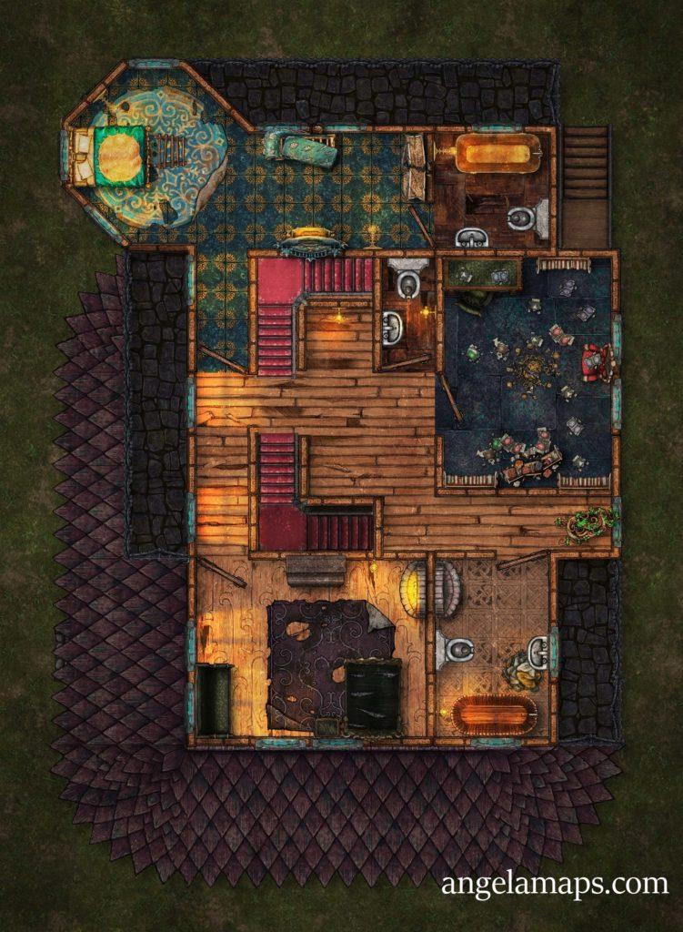 Trollskull Manor - 5 floors -broken and repaired - D&D battlemap