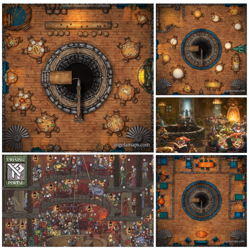 The Yawning Portal 3 story battle map in Waterdeep for D&D